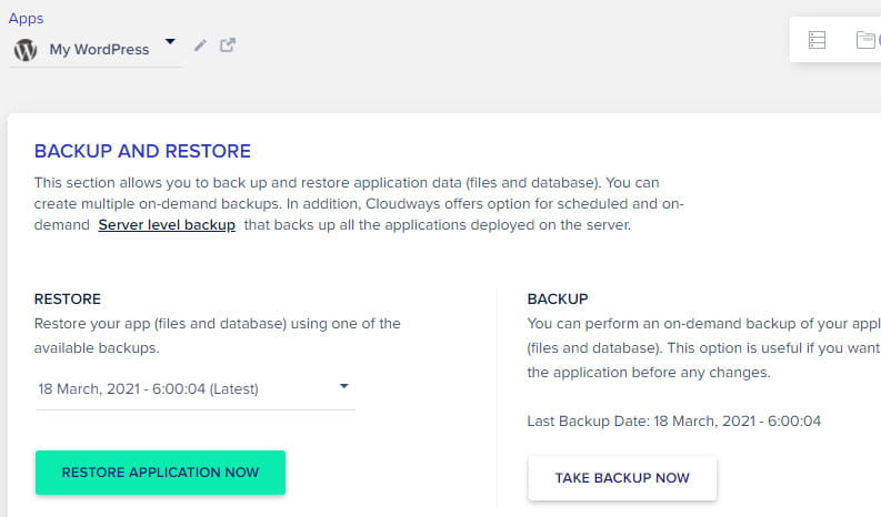 You can easily restore Cloudways backup.