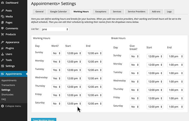 Appointments WordPress booking plugin
