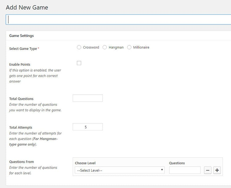 gaming plugin for WordPress website