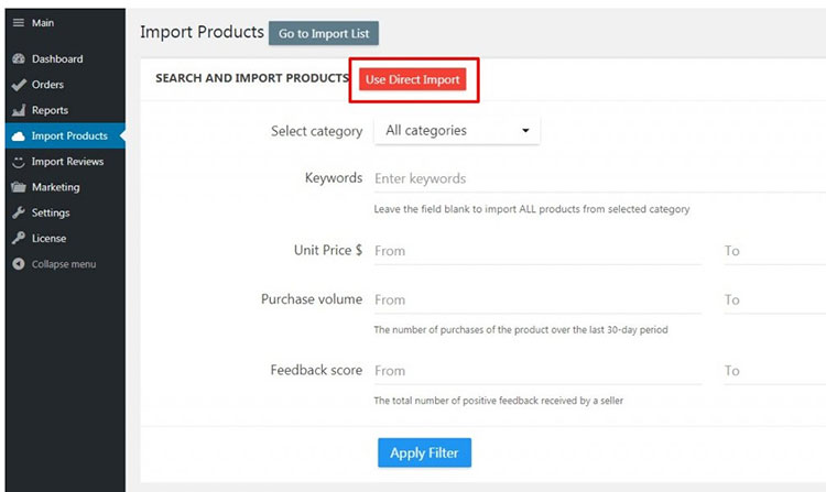 importing products from AliExpress
