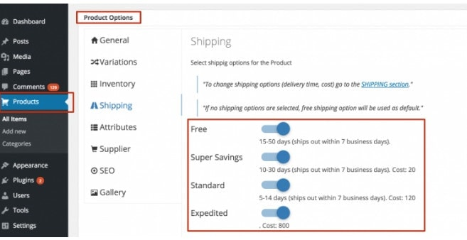 particular product shipping settings alidropship