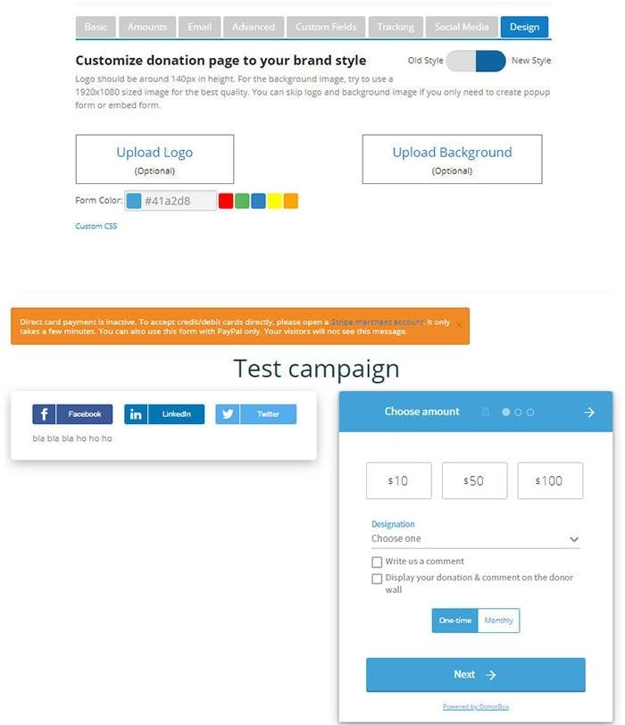 customize look donation form wordpress