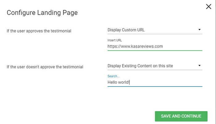 configure landing page for testimonials