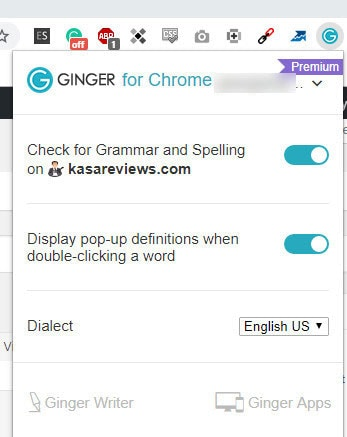 ginger chrome extension