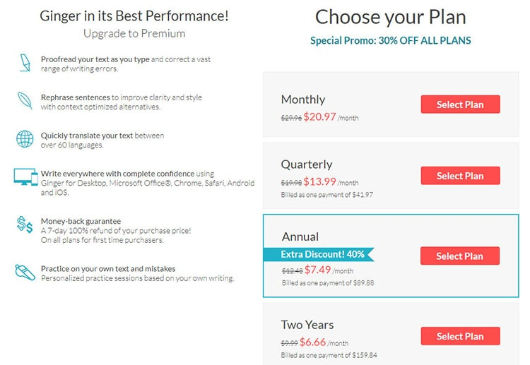 ginger software pricing plans