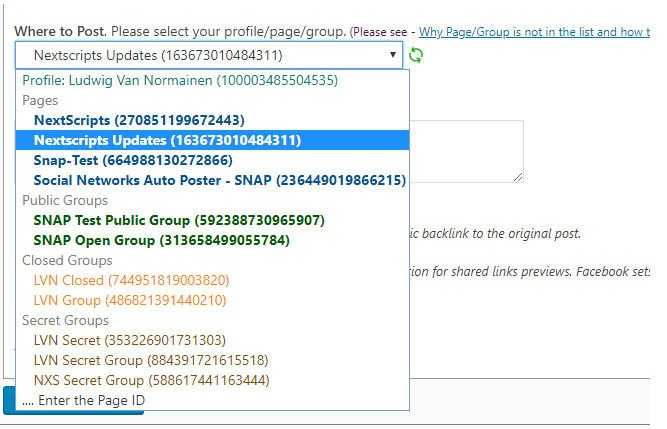 share from wordpress to facebook private groups