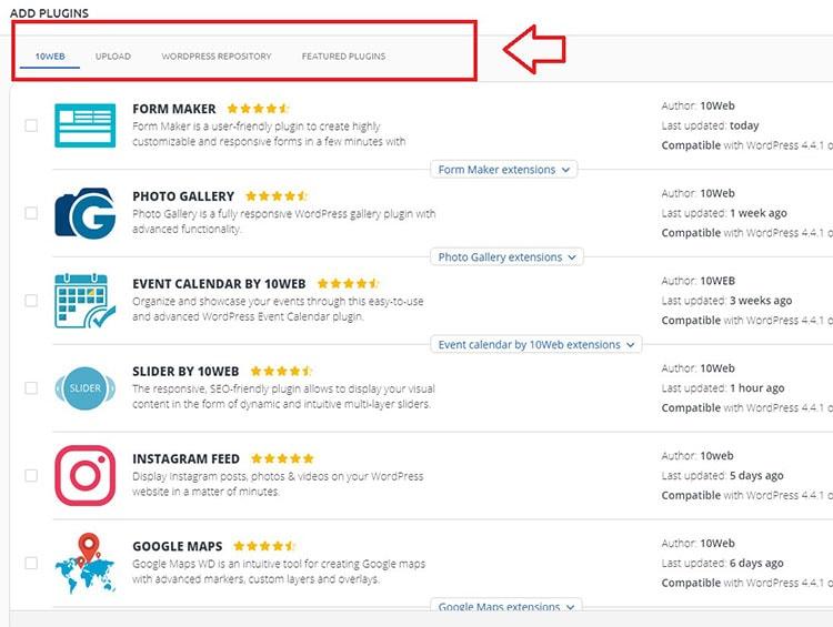 10web installing plugins