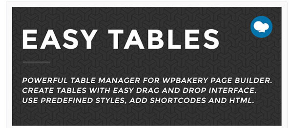 create tables wpbakery