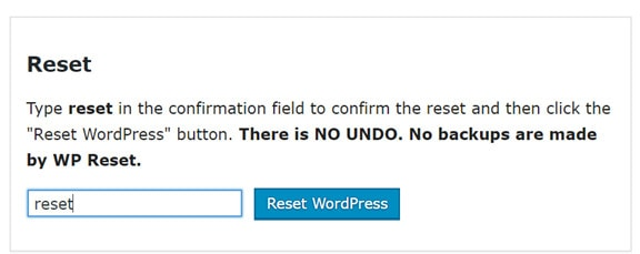 reset a wordpress site to default
