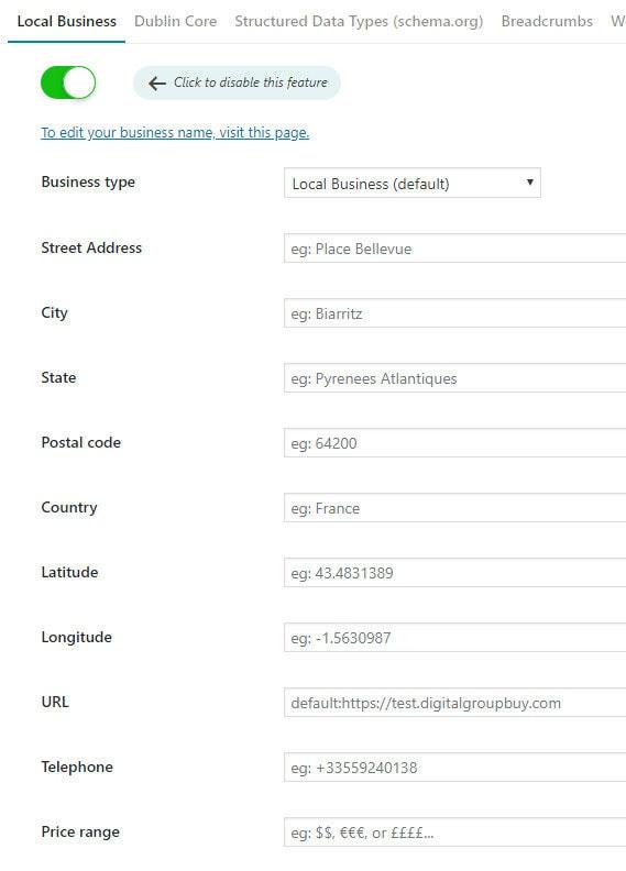 local business settings seo plugin