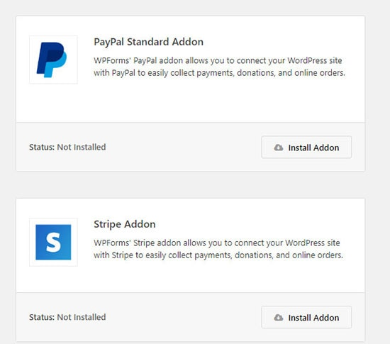 payment collection forms wordpress