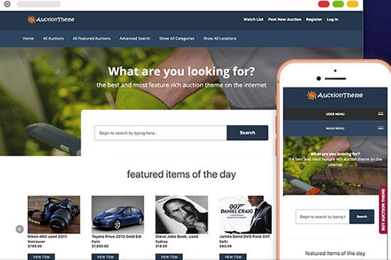 responsive auction theme sitemile review