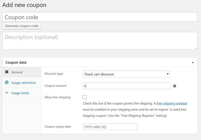 add new coupon woocommerce