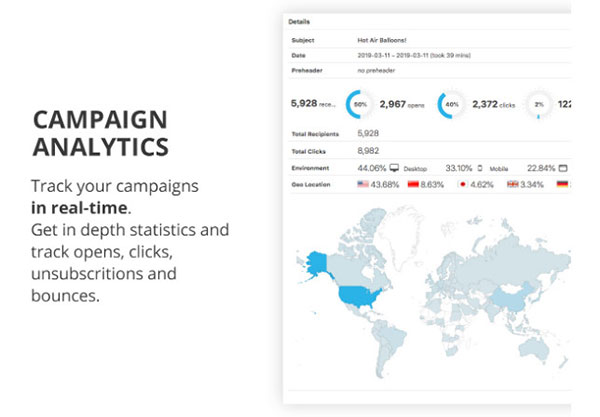 email campaign analytics from wordpress dashboard