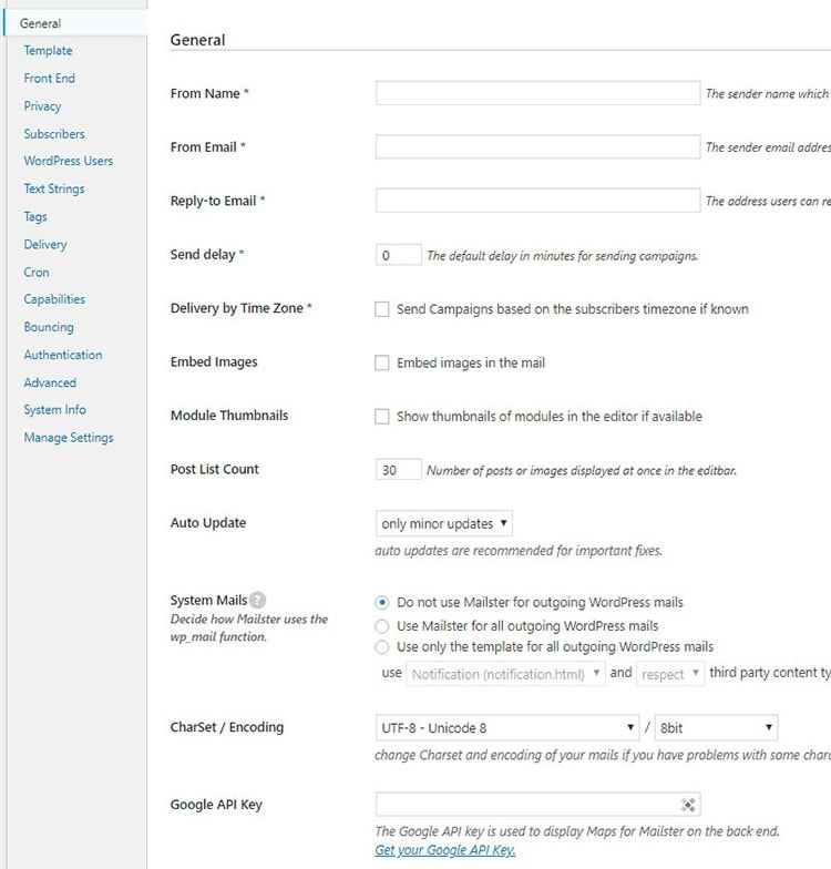 mailster general settings
