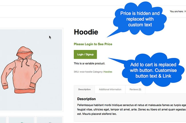 woocommerce hide price for specific category
