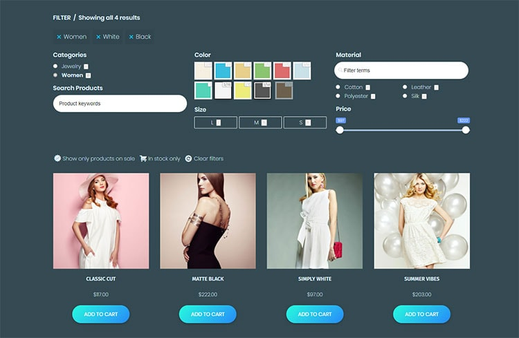 woocommerce store product filters