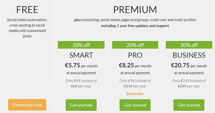 blog2social pricing plans