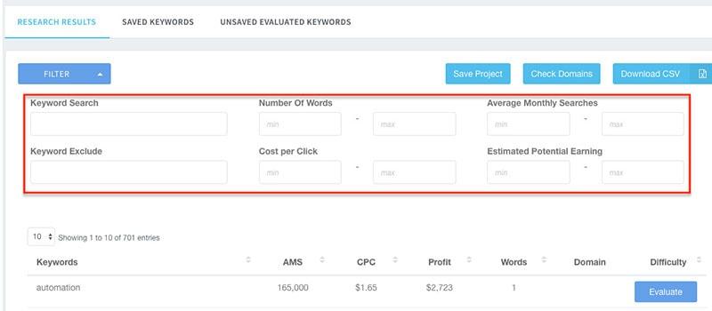 filtering keywords keyword revealer