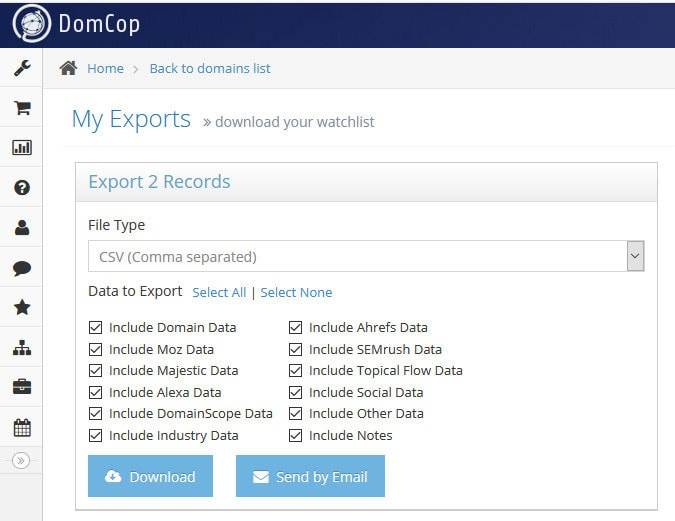 domcop export domains