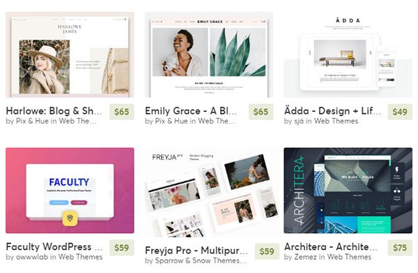 Creative Market marketplace offers WordPress plugins and themes.