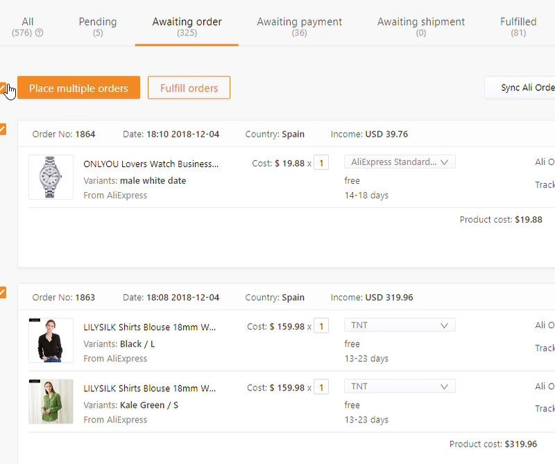 DSers AliExpress orders management.