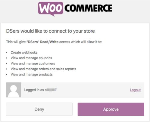 You will need to give DSers authorization to access WooCommerce.