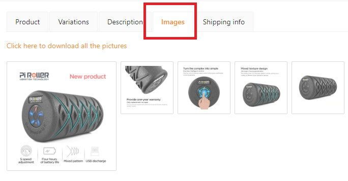 Edit or add new images to the product.