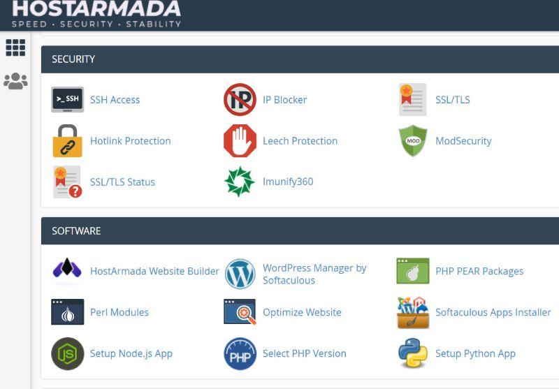 HostArmada uses cPanel as a control panel.