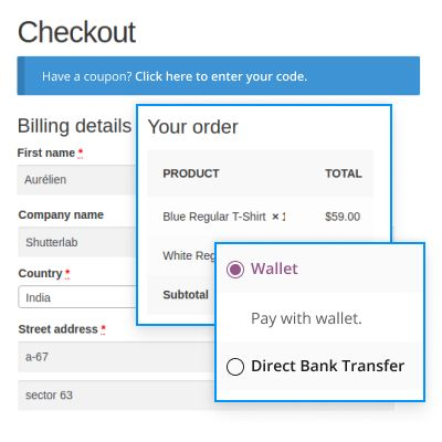 WooCommerce pay on account plugin.