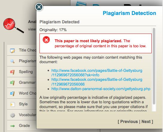 Paper Rater plagiarism detection.