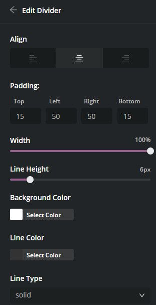 Yaymail divider element settings.