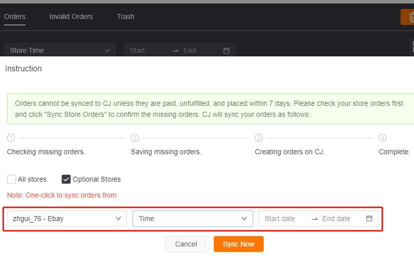 CJdropshipping automatically synchronizing orders.