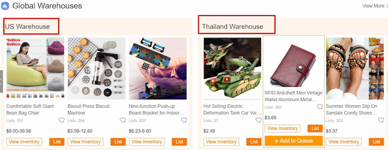 CJdropshipping has warehouses in various countries.