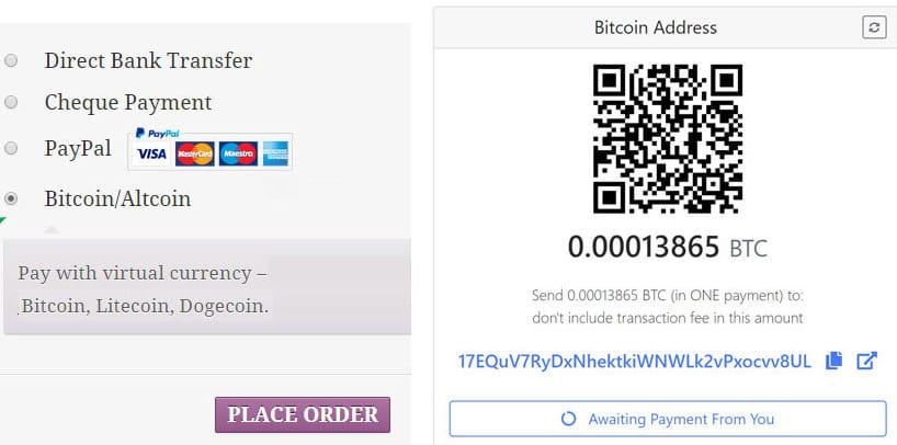 GoUrl WooCommerce Bitcoin Altcoin Payment Gateway Addon.