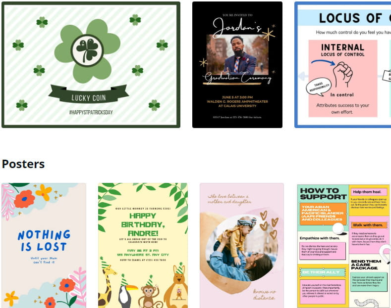 Canva comes with huge selection of templates.