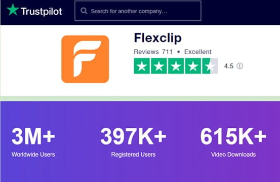 FlexClip Trustpilot ratings.