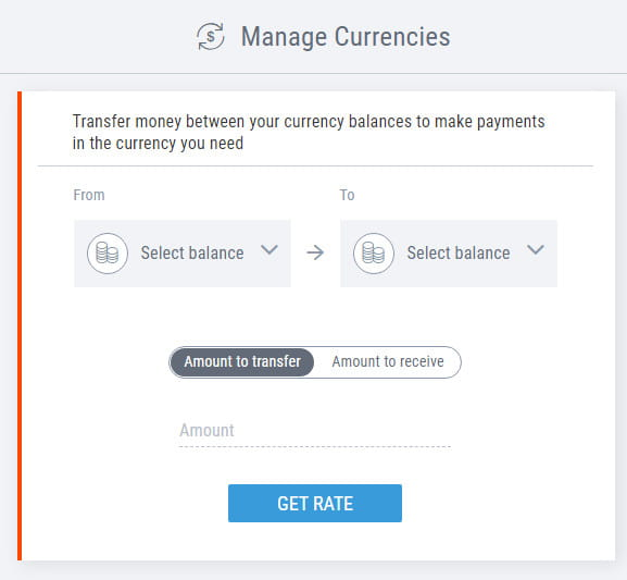 Payoneer currency conversion.