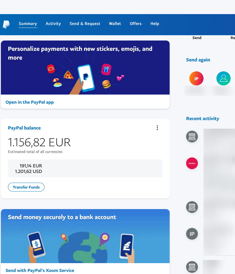 PayPal account dashboard summary.