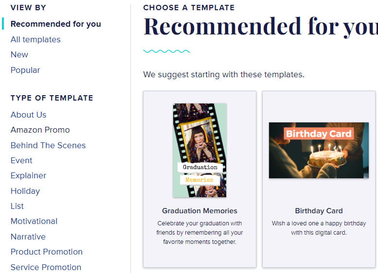 Animoto available templates.