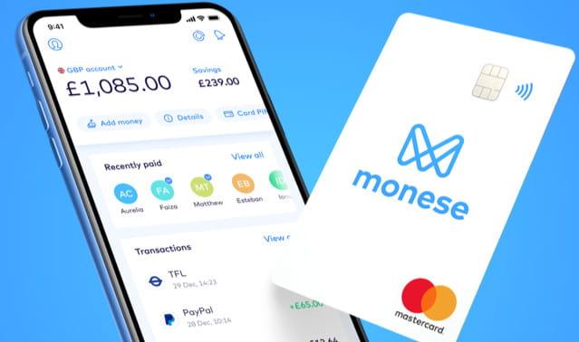 Monese digital banking features.