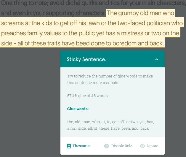 Sticky Sentence Report.