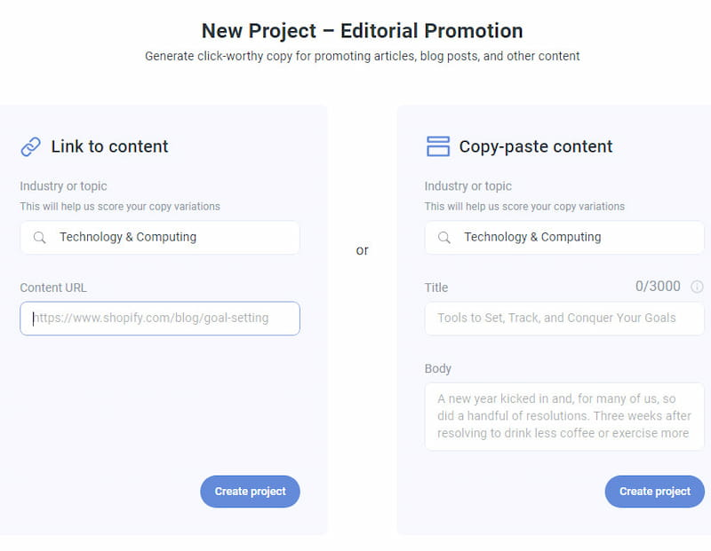 Anyword content promotion project.