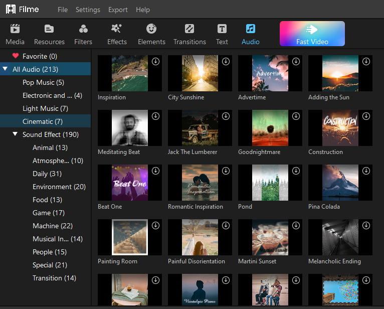 Filme video editing audio features.
