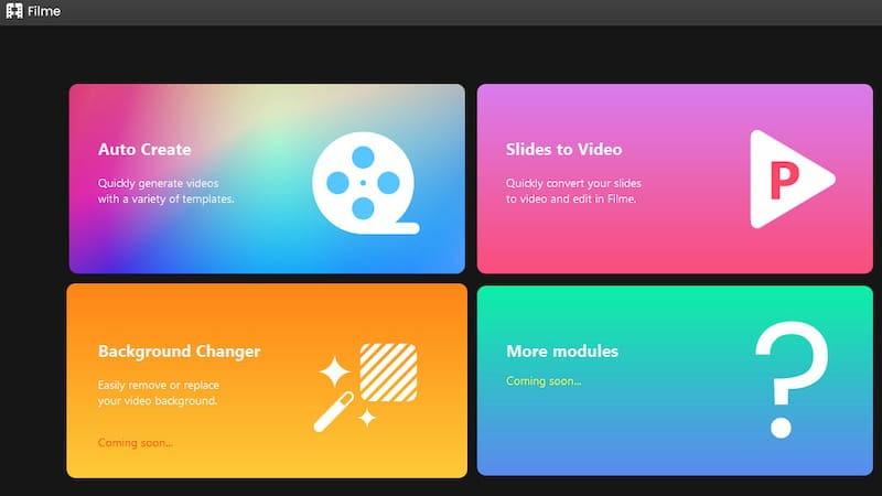 Filme fast video mode options.