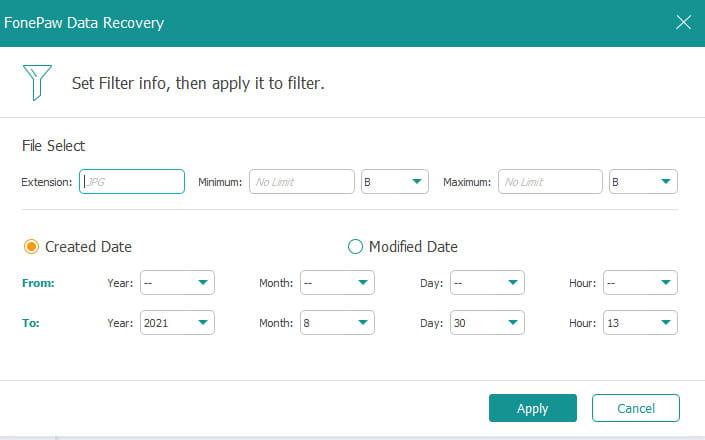 FonePaw Data Recovery filters.