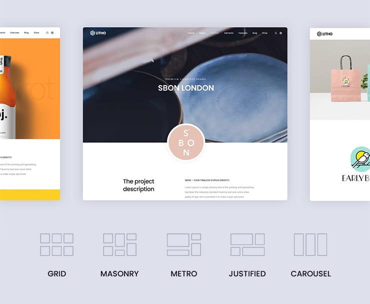 Litho theme site layout options.