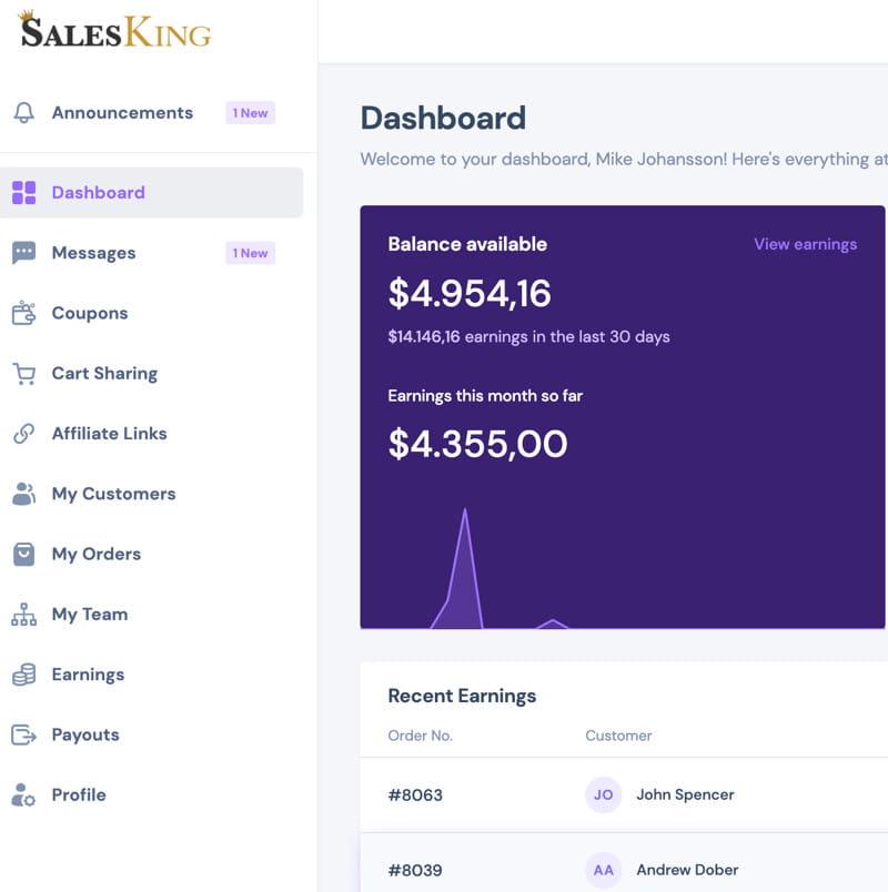 SalesKing agent dashboard.