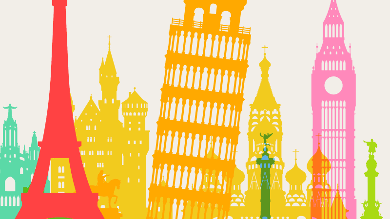Europe famous buildings illustrations