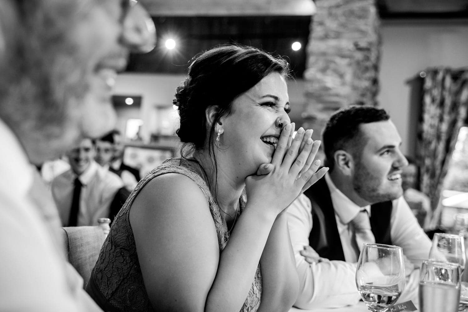 guest reaction to speeches The Old Stables Wedding Photographer